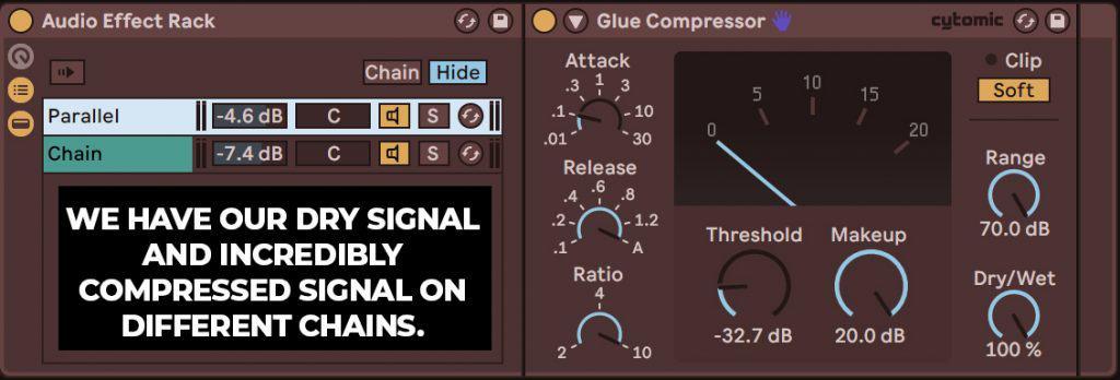 parallel drum compression example audio effect rack
