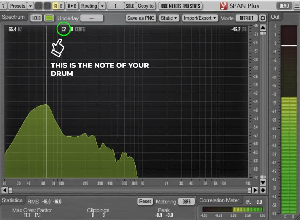how to find key of drums using span plus voxengo