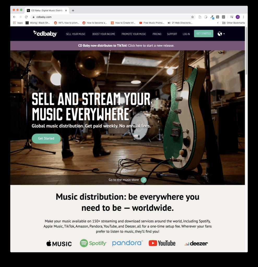 cd baby music distribution homepage