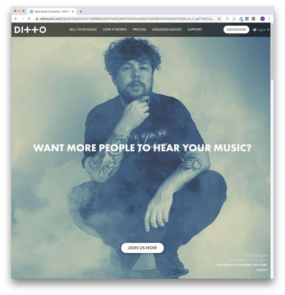 ditto music distribution homepage