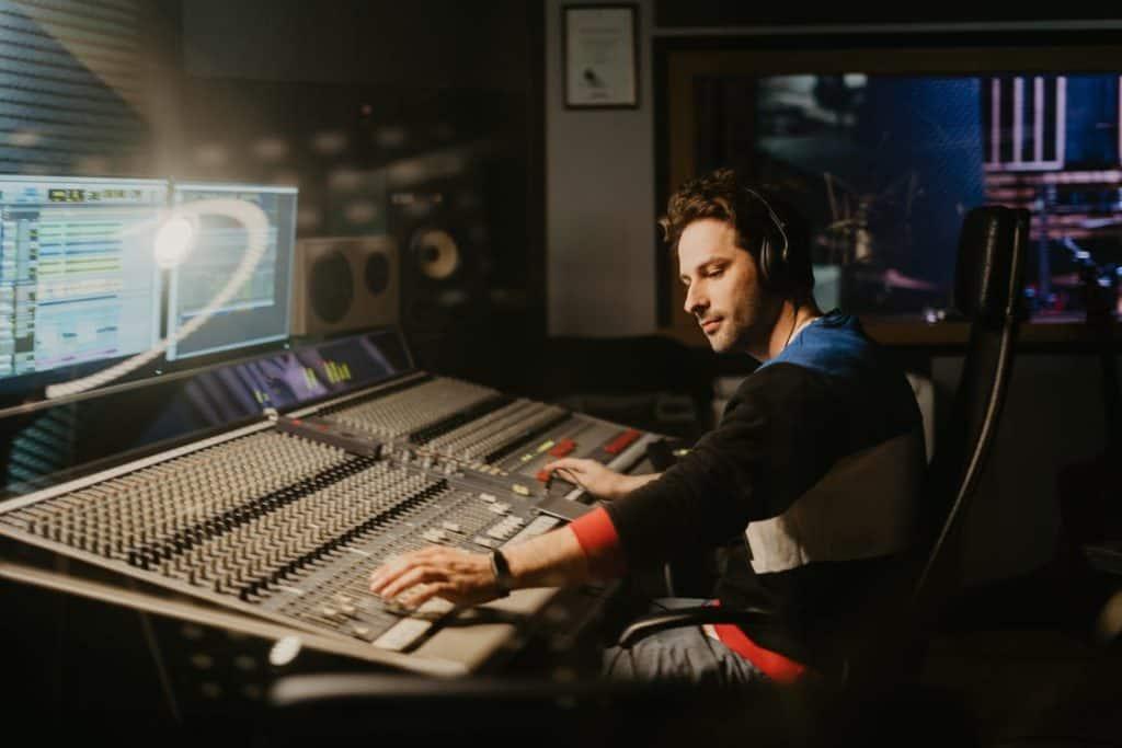 man in studio mixing