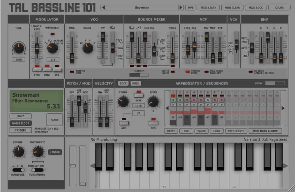 tal bassline 101 vst plugin