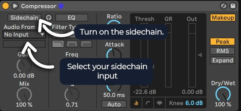 how to turn on sidechain input ableton