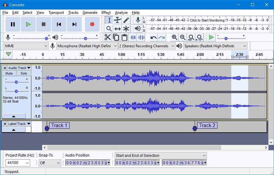 audacity free DAW recording software