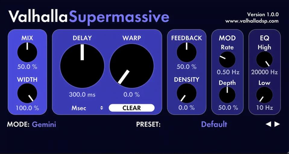 valhalla supermassive free delay plugin
