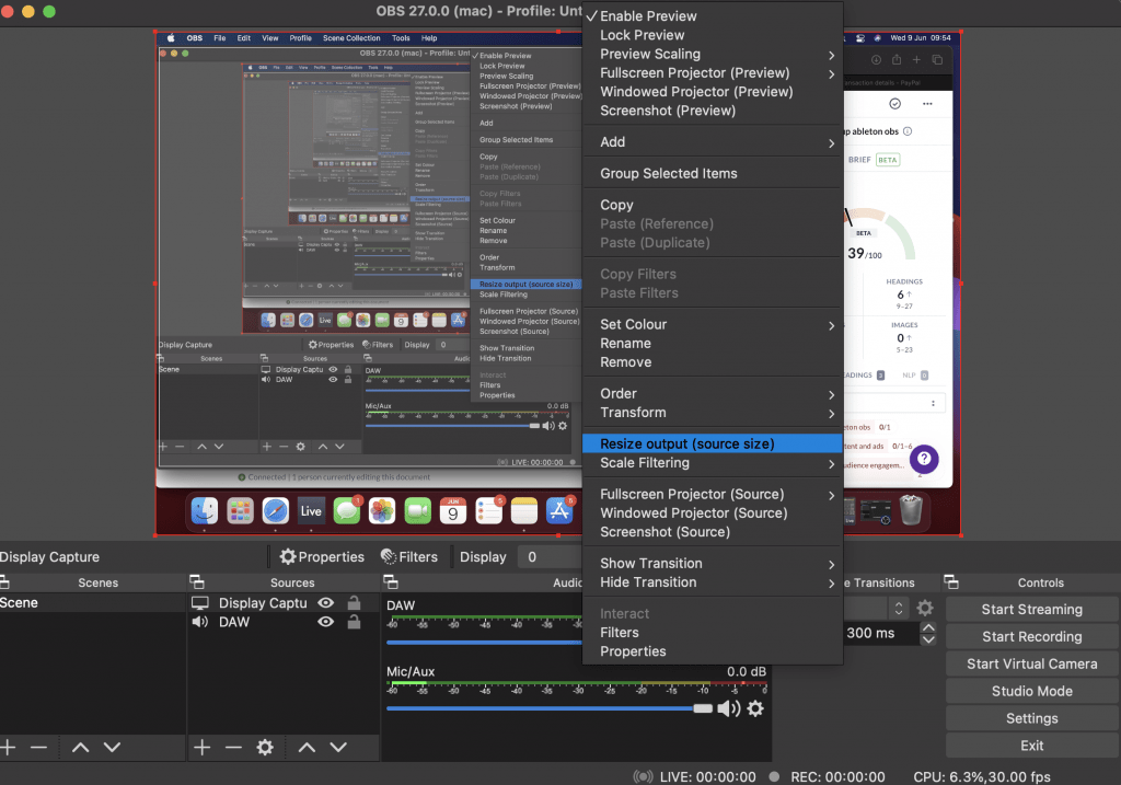 obs resize screen output source