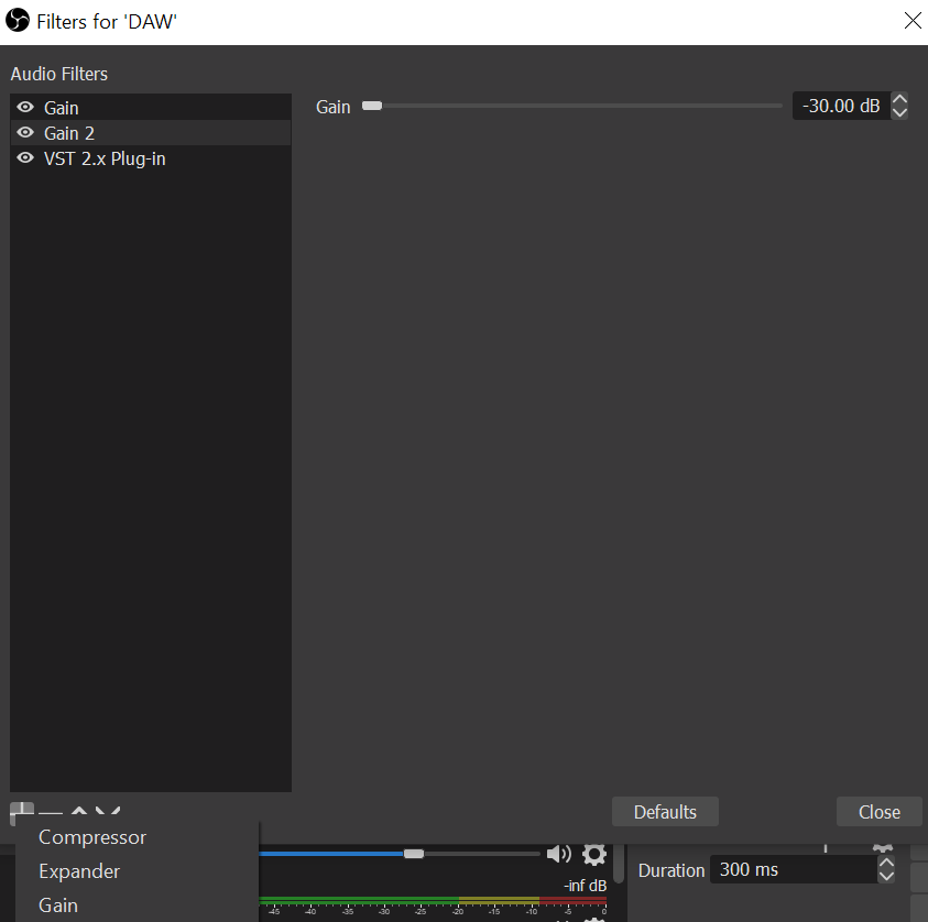 set up audio filters obs
