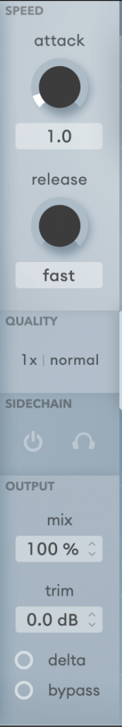 speed quality sidechain & output controls soothe 2